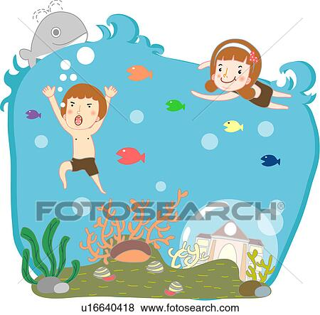 Stock illustration boy and girl swimming in the ocean fotosearch