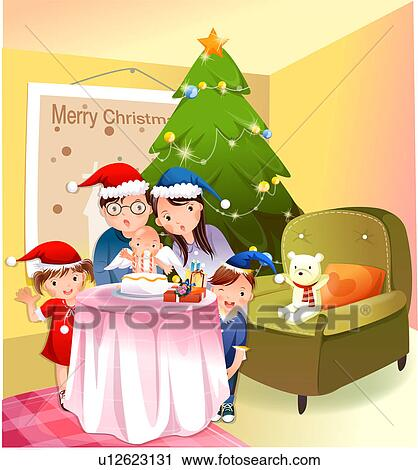 Clipart of Christmas Family u12623131 - Search Clip Art ...