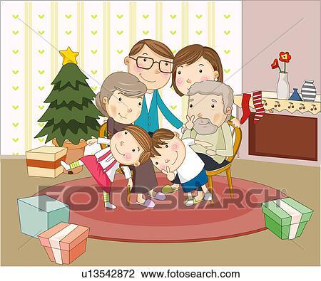 Clip Art - familie weihnachten u13542872 - Suche Clipart ...