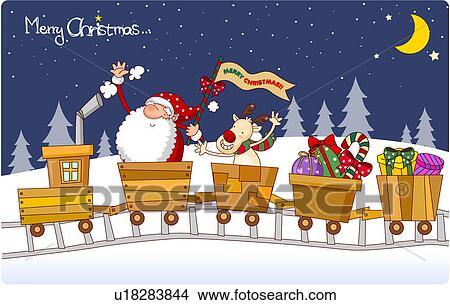 Zeichnungen weihnachten zugfahrt u18283844 suche clip art illustrationen - Clipart weihnachtswichtel ...