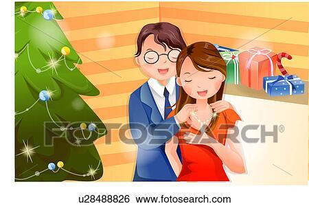 Stock illustration romantische weihnachtsgeschenk for Weihnachtsgeschenk ehefrau