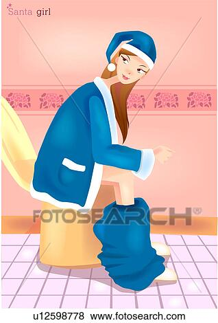Stock Illustration Of Santa S Helper Taking A Break