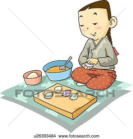 Drawings of rice cake, traditional clothes, met, cooking ...