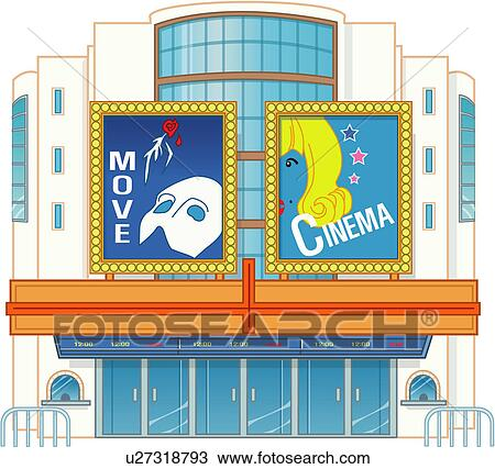 Drawing of Movie Theater u27318793 - Search Clipart ...  Cinema Building Cartoon