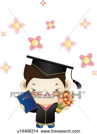 drawings of smiling graduation gown flower bouquet flower  drawing smiling graduation gown flower bouquet flower diploma mortarboard