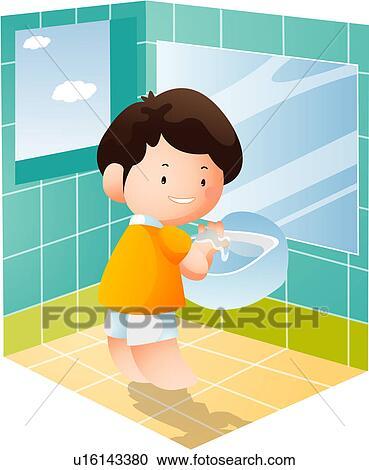 stock illustrations of bathroom, child, mirror, washstand, boy