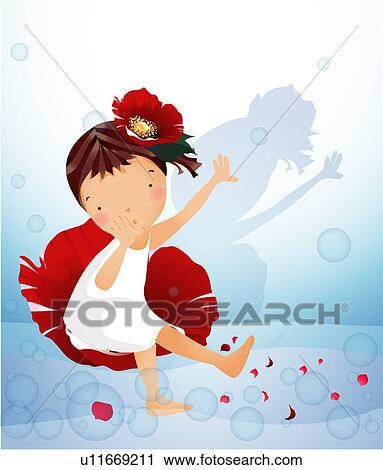 Clipart of Young Girl Dancing with Flowers u11669211 ...