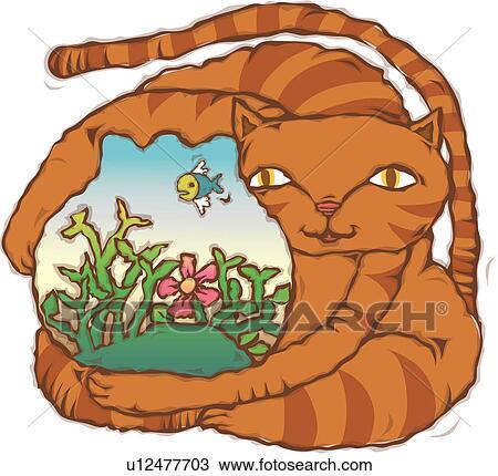 手绘图 - 握住, 猫, 家畜, 春天, 季节, fishbowl, 动物.图片