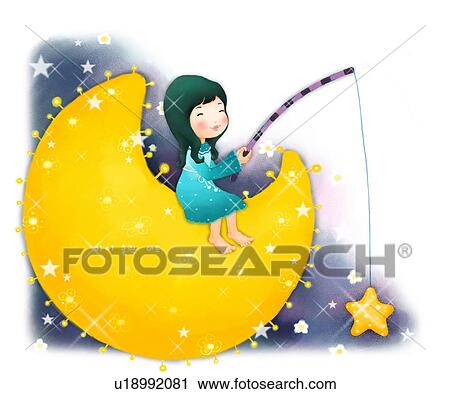 Clipart of sitting, fishing rod, new moon, moon, fishing, holding ...