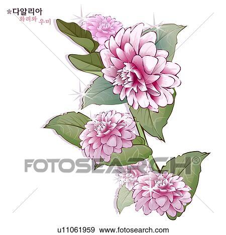 Stock Illustration Of Flowers Nature Plants Dahlia Plant
