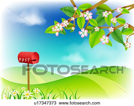 Drawing of landscape, background, outdoors, spring, nature ...