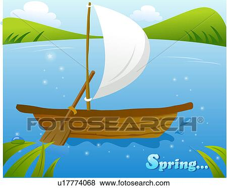 Boat Scenery Drawing Ship Scenery River Spring