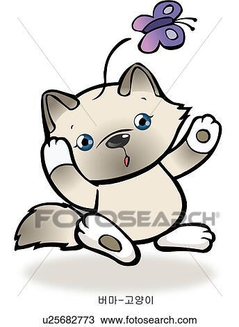 手绘图 - 形成, 猫, 形成, 性格, 被描绘为具有人形图片