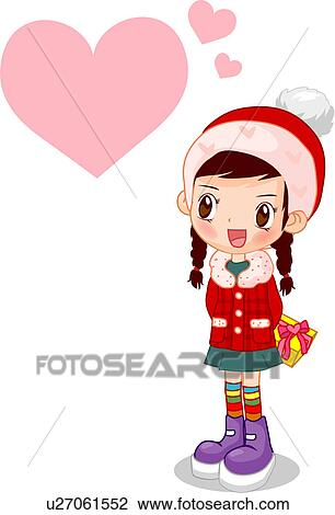 Clip Art of people, love, present, gift, heart, chocolate ...