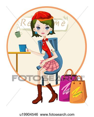 Shopping bag cafe coffee shop present fashion fotosearch search