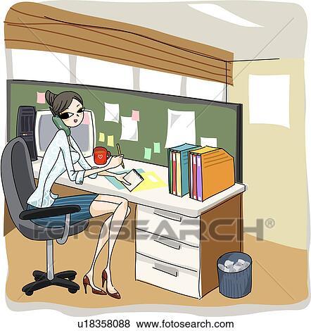 Archivio Illustrazioni - donna affari, a, lei, scrivania. Fotosearch ...