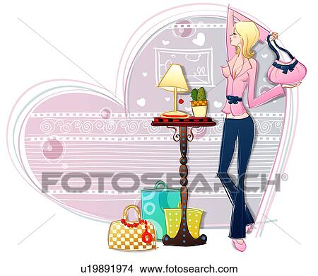 Drawing - Shopping for purses. Fotosearch - Search Clip Art