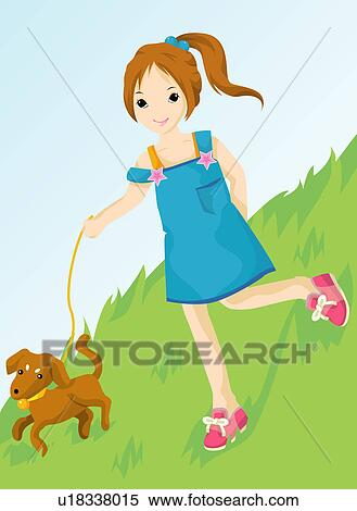 Stock Illustration of Girl walking dog u18338015 - Search Clipart ...