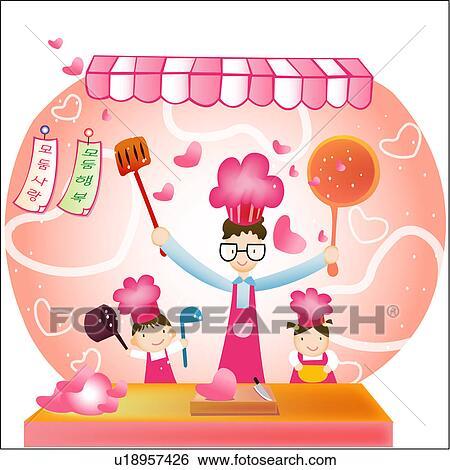 Banque d 39 illustrations fille cuisine cuisini re cuisinier p re u18957426 recherche de for Cuisinier un bras
