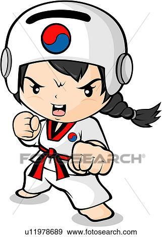 Stock Illustration - Girl in Taekwondo Uniform. Fotosearch - Search ...