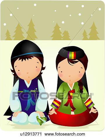 Korean traditional dress cartoon pictures