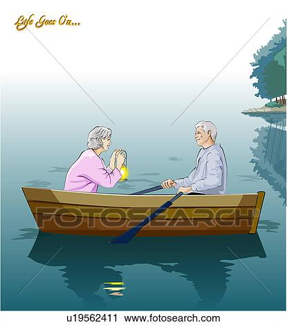 Clipart of Senior couple boating u19562411 - Search Clip ...
