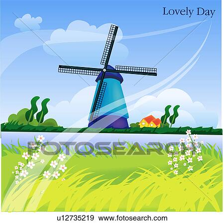 Stock Illustration of scenery, background, landscape, spring ...