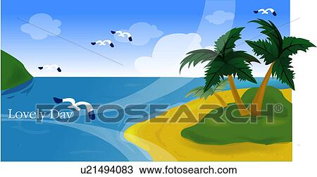 Drawing of view, summer, scene, scenery, landscape, background ...