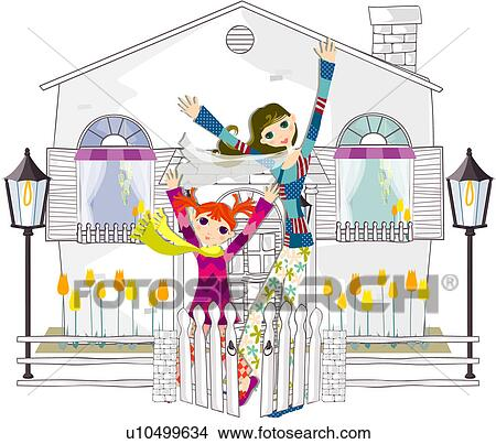 Drawings of courtyard, mother, togetherness, happiness, daughter ...