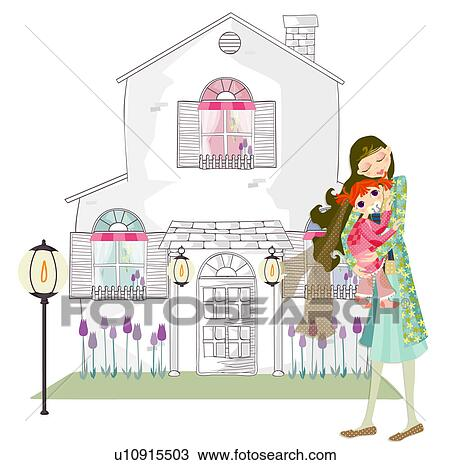 Drawing of courtyard, mother, hugging, happiness, daughter, house ...