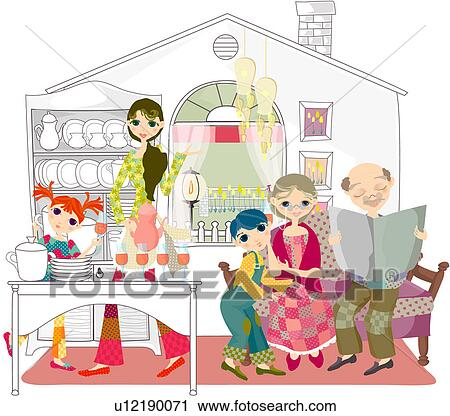 Clipart of Family in Kitchen u12190071 - Search Clip Art ...