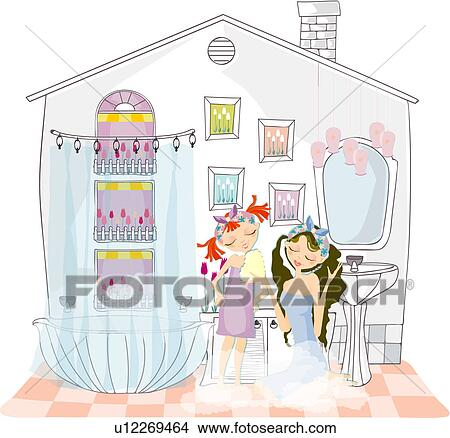 Dibujos - madre e hija, en, cuarto de baño u12269464 ...