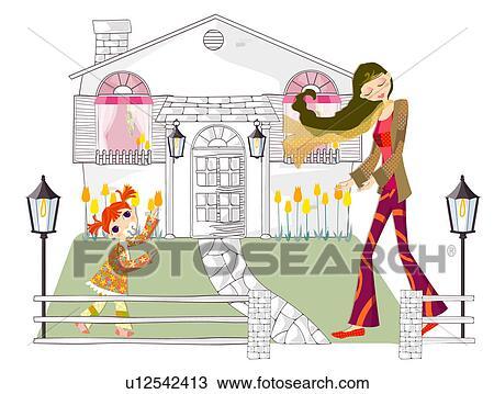 dessin m re fille dehors ensemble u12542413 recherchez des cliparts des illustrations et. Black Bedroom Furniture Sets. Home Design Ideas