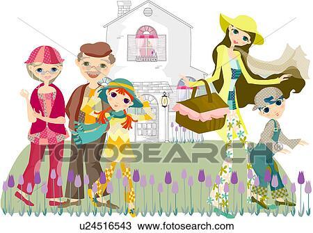 Dessin grand m re fille petits enfants m re grand p re u24516543 recherchez des cliparts - Dessin grand mere ...