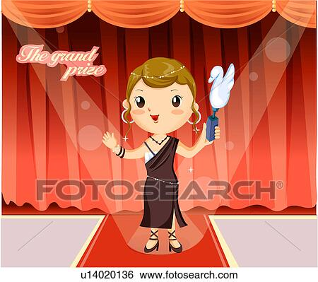 Stock Illustration of Actress holding a trophy at an awards ...