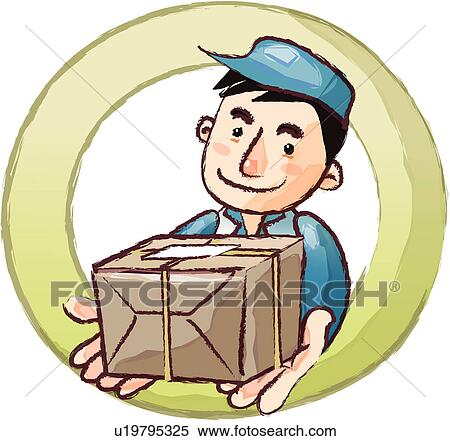 Stock Illustration of hat, holding, uniform, package ... Package Delivery Clipart