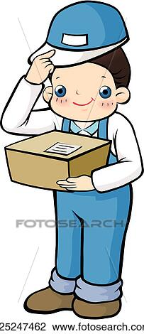 Clip Art of delivering, carrying, package, case, delivery ... Package Delivery Clipart