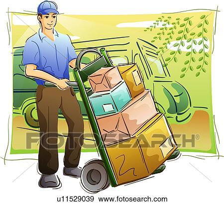 Stock Illustration of Man Delivering Packages u11529039 - Search ...