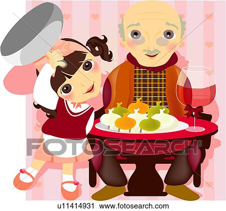 Clipart of granddaughter, child, grandfather, firl, childern ...