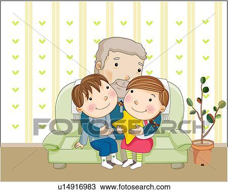 Dessin grand p re heureux togetherness petits enfants femme u14916983 recherchez des - Dessin grand pere ...