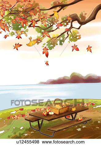 Stock Illustration Of An Autumn Picnic By The Lake