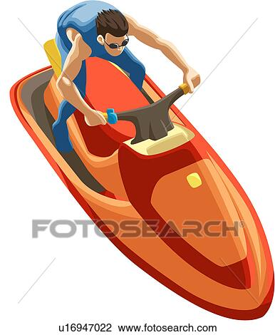 Clipart homme quitation jet ski u16947022 recherchez des cliparts des illustrations des - Jet ski dessin ...