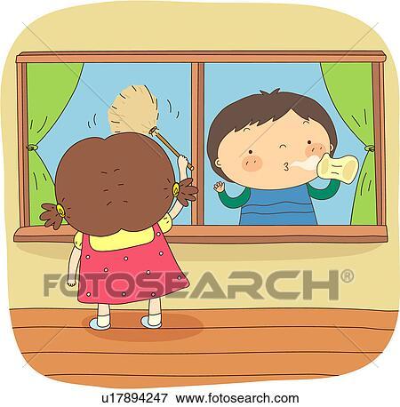 School Window Clipart clip art of mopping, student, floor, window cleaning, window
