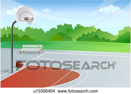 Drawings of Empty Basketball Court u13326404 - Search Clip Art ...