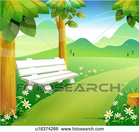 Stock Illustration of Park Bench u18374266 - Search Clip Art, Drawings ...