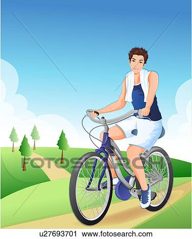 Clipart of Young man riding bicycle u27693701 - Search ...