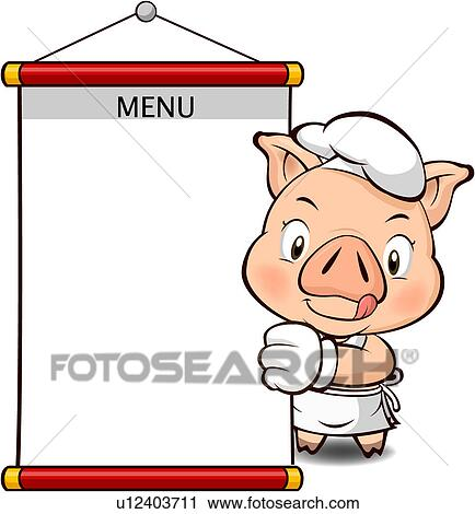 clipart of pig holding a blank menu u12403711 search clip art rh fotosearch com menu clip art borders menu clip art black and white