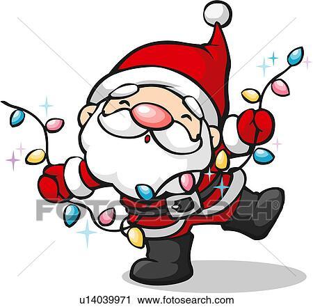 剪贴画 圣诞老人, 带, christmas光, 灯泡