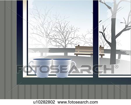 Clipart sc ne hiver vue fen tre u10282802 recherchez for Fenetre hiver
