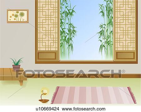 手绘图 - 竹子, 在室内